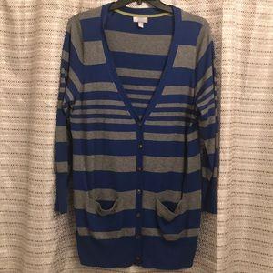 Blue and Gray stripe cardigan. 1X